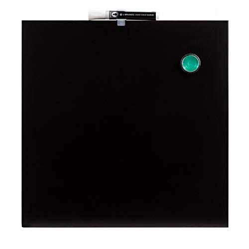 U Brands Square Magnetic Chalk Board, 14 x 14 Inches, Frameless, Black, Marker Included (468U00-04)