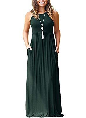 SouqFone Women's Casual Maxi Dress Loose Plain Pleated Long Dresses with Pockets Empire Waist