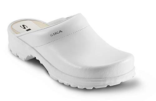 Sika 149 Traditionell offener Clog mit breiter Passform und Fußbett aus Holz - Weiß - Gr. 39
