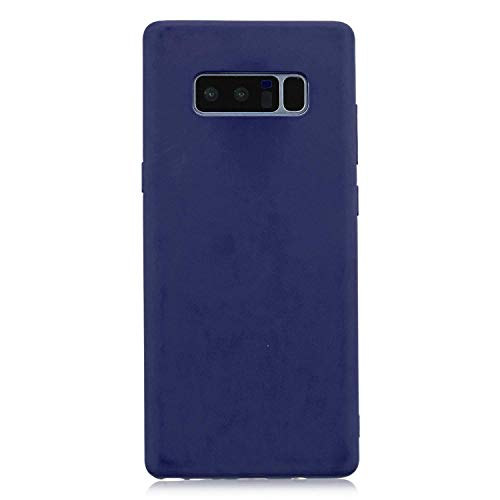 cuzz Custodia Samsung Galaxy Note 8+{Film di Vetro temperato}Silicone TPU Cover Morbida Protettiva Custodia Ultra Sottile Leggero Cover-Blu Scuro