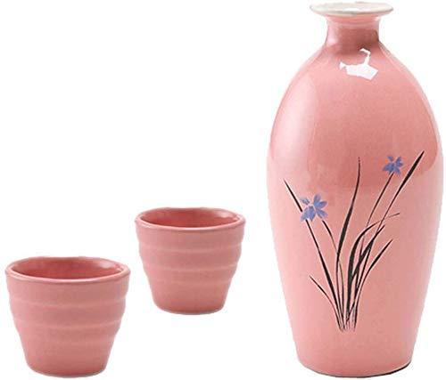 WZH Juego de Jarra de Copa de Vino de Botella de Vino de cerámica de Estilo Antiguo de tentación Negra Juego de Vino de Sake