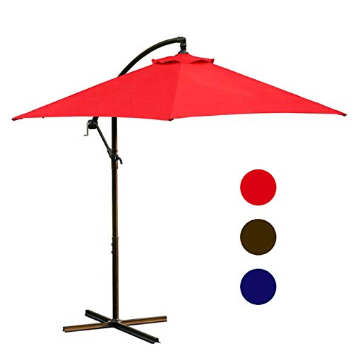 LOKATSE HOME 10 Ft Offset Outdoor Cantilever Hanging Umbrella for Patio with Crank & Cross Base, 3 Large Red