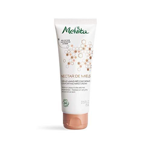 Melvita - Crème Mains Réconfortante Nectar de Miels - Crème au Miel de Thym Bio, Naturelle à 99% - Nutrition Extrême - Pour une Peau Douce et Souple - Peaux sèches et abîmées - Tube 75ml
