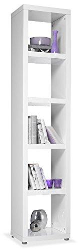 Regal Standregal Bücherregal | 5 Fächer | Weiß Hochglanz | BxHxT: 44x202x35 cm