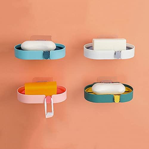 WUYIGE Paquete de 4 cajas de jabón sólidas y duraderas con ventosa sin perforaciones, caja de soporte para jabón montado en la pared, contenedor de baño para el hogar, a prueba de fugas, buena, resist