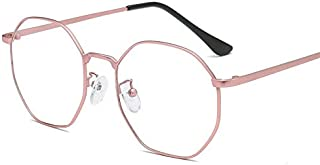 L.P.L 金属の多角形のメガネフレームヴィンテージアートアンチブルーメガネ女性用UV保護超軽量 (Color : C)