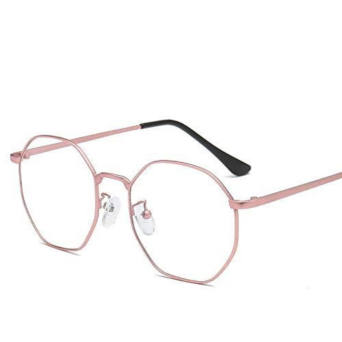 Gafas de Sol Gafas De Metal Poligonales con Montura De Gafas Vintage Antiazul protección para los Ojos (Color : C)