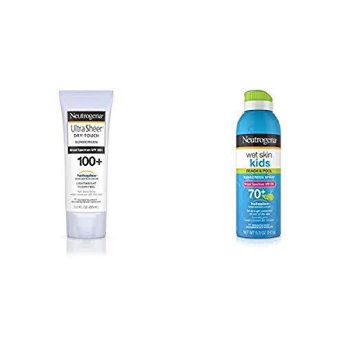 Neutrogena Ultra Sheer Dry-Touch Sunscreen, Broad Spectrum Spf 100, 3 Fl. Oz. and Wet Skin Kids Sunscreen Spray Broad Spectrum Spf 70+, 5 Oz.
