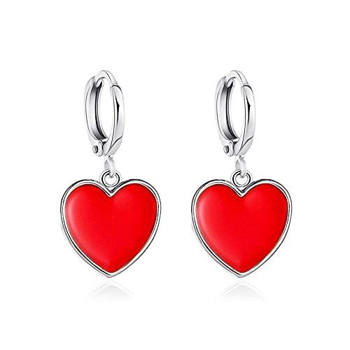 Pendientes para niñas, QWEA Korean Sweet Girl Pendientes colgantes en forma de corazón rojo Precioso banquete de boda Mujer Clip de oreja Joyería Regalo romántico de San Valentín