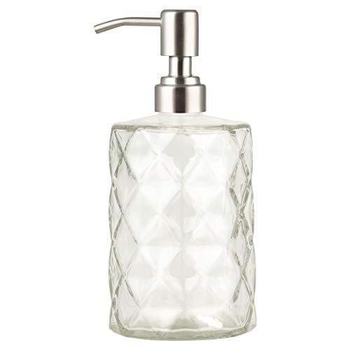 Dispensador de jabón de cristal Plomkeest, dispensador de jabón de cristal transparente, 12 onzas, con bomba de acero inoxidable, dispensador de jabón líquido para baño