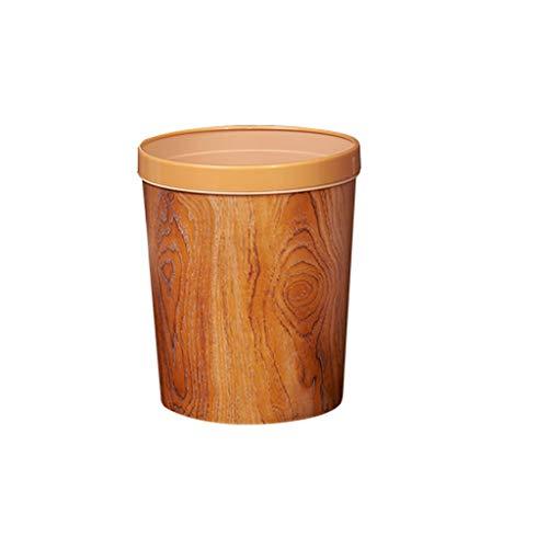 Papelera Basura Cubo de Basura imitación de Madera del Grano Bin Salón Dormitorio Cocina Hogar Hotel Bote de Basura con presión Anillo Papelera Cubo de Basura (Color : Wood Color)