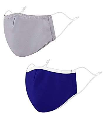 Cloth Face Washable Fabric Reuseable with Nose Wire, Pack 2_Grey/Royal