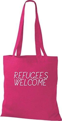 Shirtinstyle Stoff-Beutel Baumwolltasche Refugees Welcome, Flüchtlinge, Bleiberecht, Farbe Pink