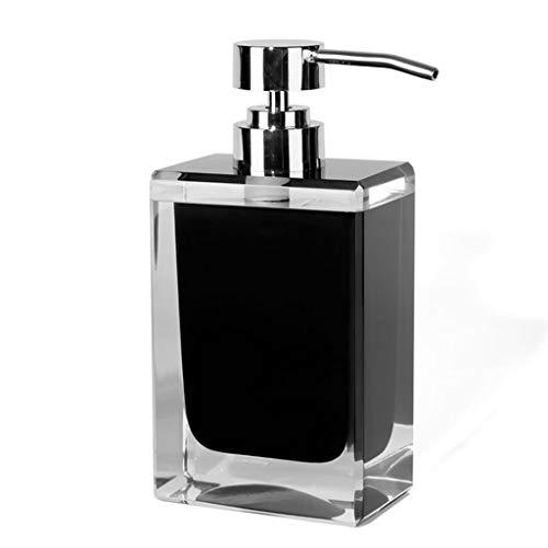 Distributeur de savon noir avec pompe argentée de résine de stockage de liquide, bouteille, articles de ménage Distributeur de lotion 7oz de style moderne nordique for la cuisine de salle de bains