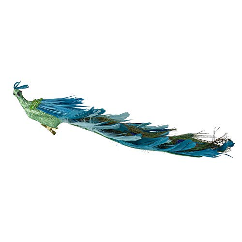 Northlight 14' Green and Blue Jeweled Peacock Clip-On Christmas Ornament