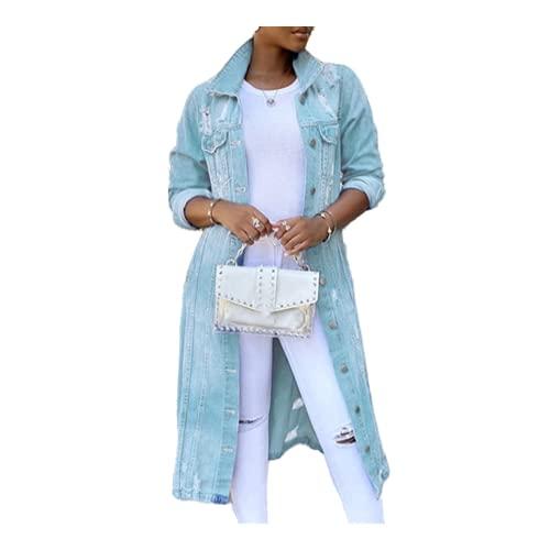 Otoño Mujeres Sexy Arrancado Denim Chaquetas Vintage Casual Long Jean Jacket Invierno