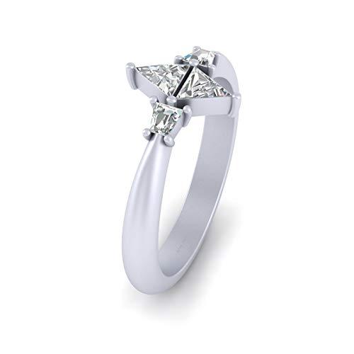 Anillo de compromiso cónico, oro blanco macizo de 18 quilates, forma de triángulo y baguette, anillo de diamante de 0,45 quilates para mujer (N)