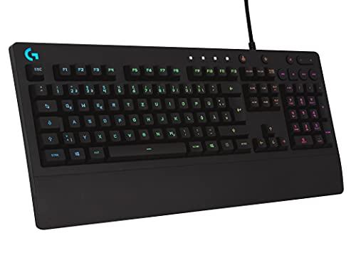 Logitech G213 Prodigy Gaming-Tastatur, RGB-Beleuchtung, Programmierbare G-Tasten, Multi-Media Bedienelemente, Integrierte Handballenauflage, Spritzwassergeschützt, Deutsches QWERTZ-Layout - Schwarz