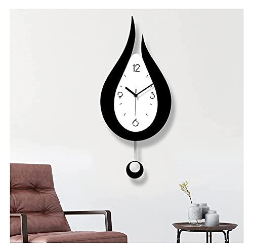 THJX Reloj de pared grande, no hace tictac, silencioso, caída de agua, reloj moderno para cocina, sala de estar, dormitorio, oficina (color : gota de agua)