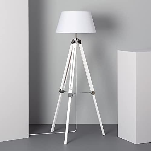 LEDKIA LIGHTING Lámpara de Pie Naweza 1440x650x650 mm Blanco E27 Casquillo Gordo Aluminio - Madera Decoración Salón, Habitación, Dormitorio