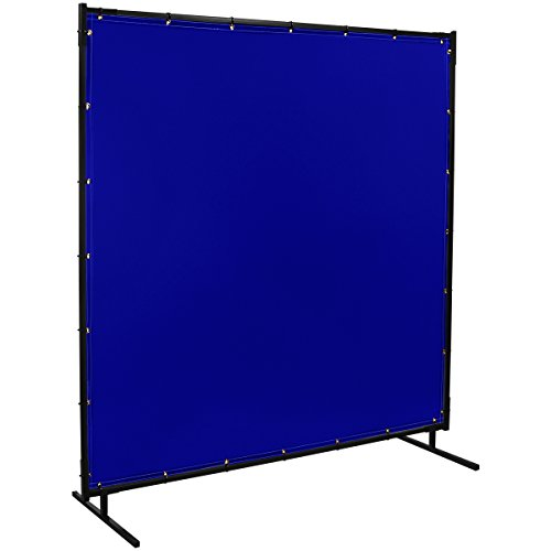 Steiner 525-6X6 Protect-O-Screen Classic Welding Screen with Flame Retardant 14 Mil Tinted Transparent Vinyl Curtain, Blue, 6' x 6'