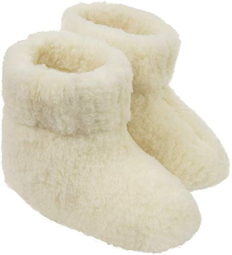 Estro Herren Damen Hausschuhe Reine Wollhausschuhe - Hüttenschuhe Stiefel Warm Winter Wolle Warme Winterhausschuhe Schafswolle Mit Fell Schafwolle OLE(40 EU, Creme)
