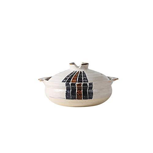 HGJINFANF Necesario para familias, Fuerte y Duradero. Estilo japonés Cazuela Caserole Stofetop Stef Pot Capacitación Grande Cacerola Sopa Pot Stef Pan Pan Levenware Pot Caja de Olla con Tapa