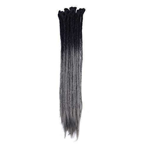 Extensiones Dreadlock Extensiones temibles para el cabello Rasta para trenzas largas Trenzas Fibras para trenzas de cabello 60 cm para mujeres Hombres, Caja de 15, 2-20 Negro a gris oscuro