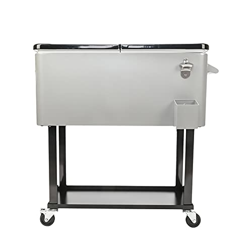 SWSPORT 80-Quart Patio Rolling Ice Chest & Cooler Cart on Wheels with Shelf, Handle and Bottle Opener, Portable Backyard Pool Deck Parties Drink Stand Beverage Bar Trolley
