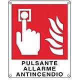 CARTELLO ALLUMINIO 12x14,5cm 'PULSANTE ALLARME ANTINCENDIO'' CARTELLI SEGNALATORI