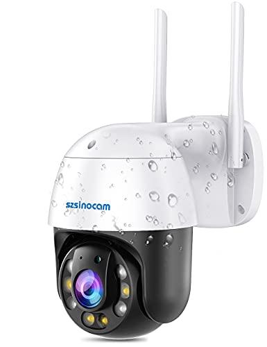 [Ultima Versione] 5MP PTZ Telecamera Wifi Esterno IP Dome di Sorveglianza con Pan355° e Tilt90° Zoom Digitale 10X Visione Notturna a Colori 80m Audio a 2 Vie Rilevazione WDR Umano Elaborazione Luce