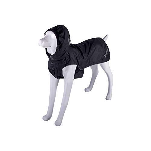 BOXEUR DES RUES Dog Collection Manteau imperméable pour Chien avec Capuche Amovible Unisexe – Adulte, Noir, 43 cm