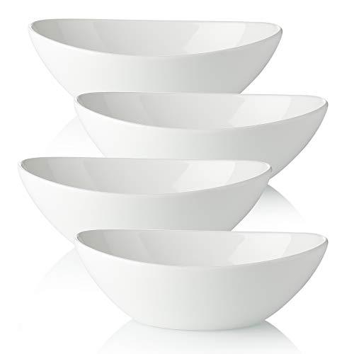 Vasa Casa Serving Bowls, 36 Ounce Salad Bowls, Large Bowls Set for Salad, Pasta, Soup, Dessert, White Bowls for Kitchen, Microwave & Dishwasher Safe, Set of 4, White