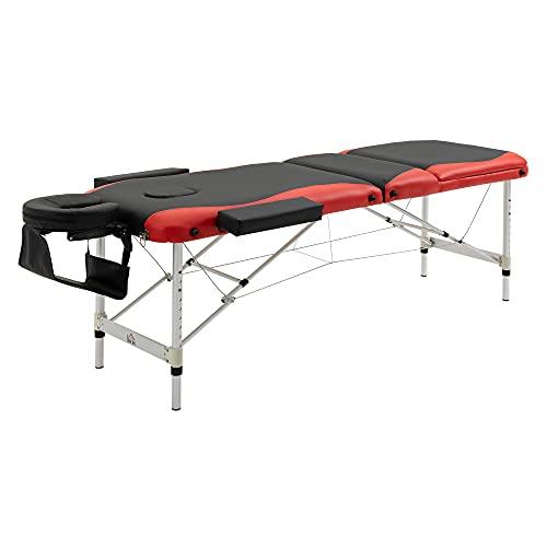 HOMCOM Massageliegen klappbar Kosmetikliegen höhenverstellbarer Massagetisch mit Kopfstütze Massagebett Aluminium Schaumstoff Kunststoff Schwarz+Rot 215 x 60 x 61-84 cm