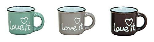 MC Trend 6er Set Espresso Becher -Love IT - Mokka Tasse Keramik kleine Auszeit Küche Frühstück Büro ca. 50 ml