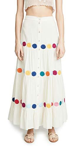 Carolina K Women's Gigi Skirt, Cream Chakras, Off White, Print, X-Small
