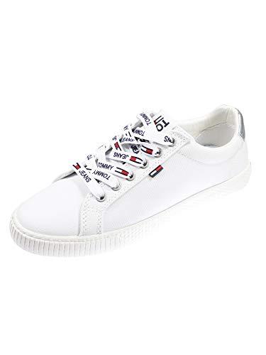 Tommy Jeans Hilfiger Denim Casual Sneaker, Scarpe da Ginnastica Basse Donna, Bianco (White 100), 37 EU