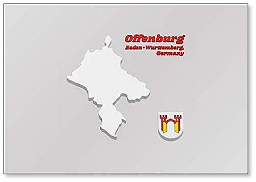 Karte Umriss & Wappen von Offenburg - Es ist in Baden-wurttemberg Kühlschrankmagnet