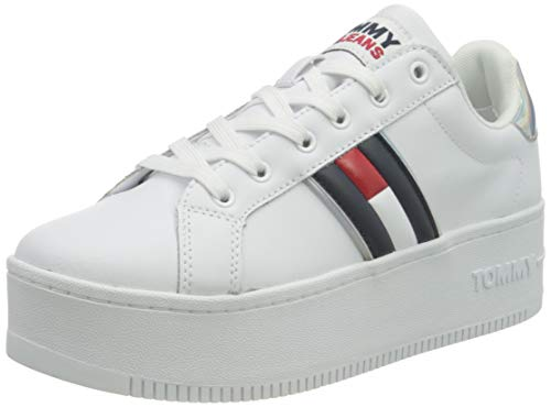 Tommy Hilfiger Damen Iridescent Iconic Schillernder ikonischer Sneaker, weiß, 38 EU
