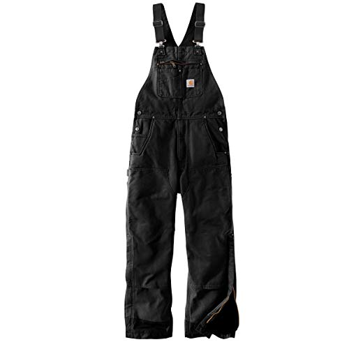 Carhartt Men's Big & Tall Loose Fit Washed Duck Insulated Bib Overall, Black, X-Large/Tall