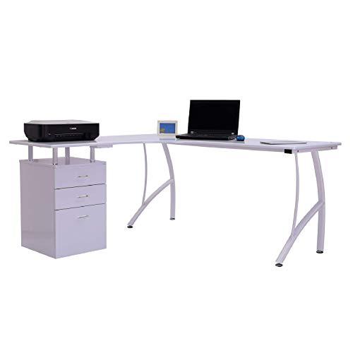 Yhjkvl Escritorio esquinero para ordenador en forma de L para estudio, mesa de ordenador, estación de trabajo, color blanco