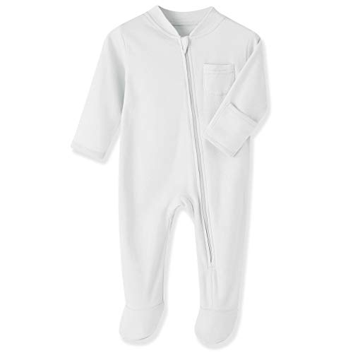 Baby Boys Sleep and Play White 12 Months Baby Cotton Sleeper Zip Front Footed Pajamas White 9-12 Months