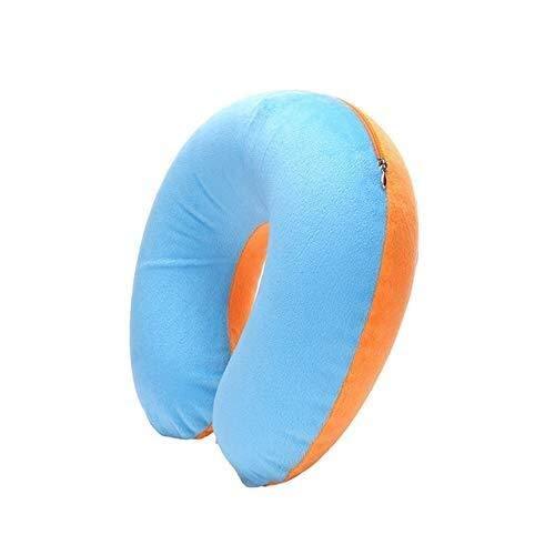 HJBH Nackenkissen Kopfkissen 1 Stück U-förmige Reisekissen Auto Luft Flug aufblasbare Unterstützung Kopfstütze Kissen weiche Stillkissen blau (Color : Blue)