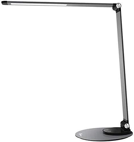 Lampada da Scrivania TaoTronics, Lampada da Tavolo Ufficio LED 12W con 6 Luminosità + 3 Temperature di Colore, Porta di Ricarica USB per Smartphone, LED Occhi-Cura, Funzione Memoria, Grigio Argento