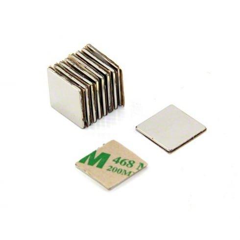 Magnetastico | 20x magneti autoadesivi neodimio N52 quadrato 15x15x1 mm | Forti magneti adesivi con nastro adesivo di marca 3M | Calamite autoadesivi con pellicola adesiva, forza adesiva molto elevata