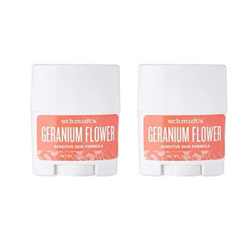 Paquete de 2 desodorantes en barra de geranio (piel sensible) de Schmidt, tamaño viaje