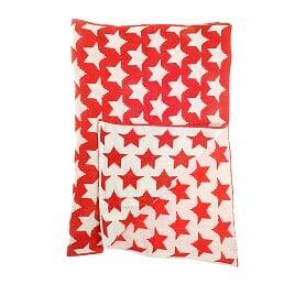 Ziggle Manta del Cuarto de niños Cuna y Cochecito de niño, 2 Capas de 100% de Chenilla de Punto Rojo y Blanco de la Estrella