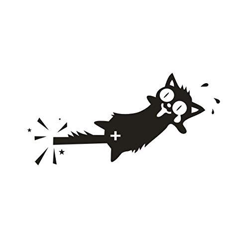 VCHSH 9 * 18 cm Gato de Dibujos Animados pegados a los Coches pegados a los Coches rasguños Etiquetas engomadas del Cuerpo fijadas a la Puerta (Color : Black)