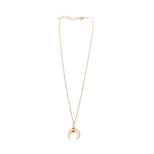 Lunji Double Horn Moon Necklace Crescent Moon Chokers Pendant Necklace for Women (Golden)