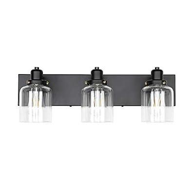 KLSS 3-Light Bathroom Vanity Light,Industrial Wall Sconce Bathroom Lighting Fixture,Matte Black Finish,Clear Glass Shade,E26,23.6 inch